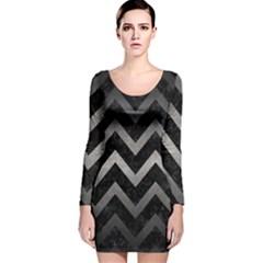 Chevron9 Black Marble & Gray Metal 1 Long Sleeve Velvet Bodycon Dress