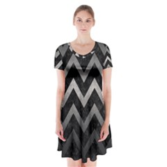 Chevron9 Black Marble & Gray Metal 1 Short Sleeve V Neck Flare Dress