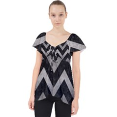 Chevron9 Black Marble & Gray Metal 1 Lace Front Dolly Top