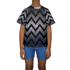 Chevron9 Black Marble & Gray Metal 1 (r) Kids  Short Sleeve Swimwear