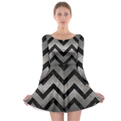 Chevron9 Black Marble & Gray Metal 1 (r) Long Sleeve Skater Dress