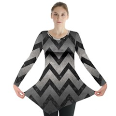 Chevron9 Black Marble & Gray Metal 1 (r) Long Sleeve Tunic