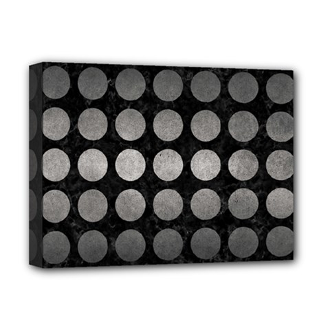 Circles1 Black Marble & Gray Metal 1 Deluxe Canvas 16  X 12