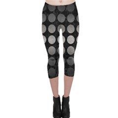 Circles1 Black Marble & Gray Metal 1 Capri Leggings