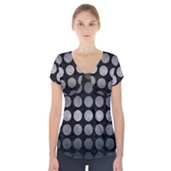 Circles1 Black Marble & Gray Metal 1 Short Sleeve Front Detail Top
