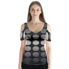 Circles1 Black Marble & Gray Metal 1 Butterfly Sleeve Cutout Tee