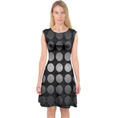 Circles1 Black Marble & Gray Metal 1 Capsleeve Midi Dress