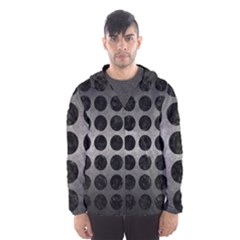 Circles1 Black Marble & Gray Metal 1 (r) Hooded Wind Breaker (men)