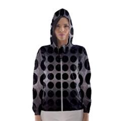 Circles1 Black Marble & Gray Metal 1 (r) Hooded Wind Breaker (women)