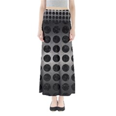 Circles1 Black Marble & Gray Metal 1 (r) Full Length Maxi Skirt