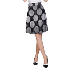 Circles2 Black Marble & Gray Metal 1 A Line Skirt