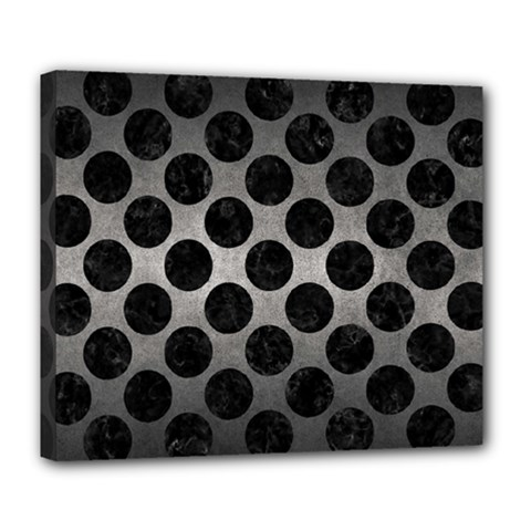 Circles2 Black Marble & Gray Metal 1 (r) Deluxe Canvas 24  X 20