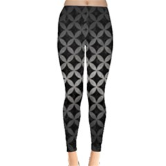 Circles3 Black Marble & Gray Metal 1 Leggings