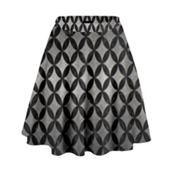 Circles3 Black Marble & Gray Metal 1 (r) High Waist Skirt