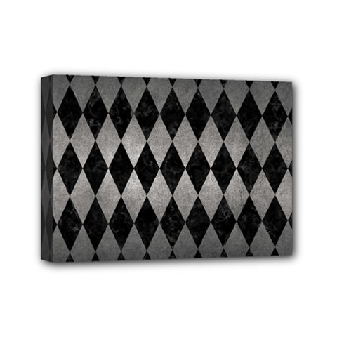 Diamond1 Black Marble & Gray Metal 1 Mini Canvas 7  X 5