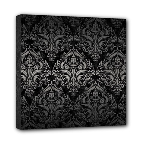 Damask1 Black Marble & Gray Metal 1 Mini Canvas 8  X 8