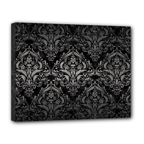 Damask1 Black Marble & Gray Metal 1 Canvas 14  X 11