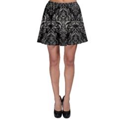 Damask1 Black Marble & Gray Metal 1 Skater Skirt