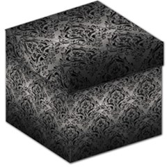 Damask1 Black Marble & Gray Metal 1 (r) Storage Stool 12