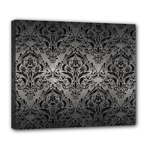 Damask1 Black Marble & Gray Metal 1 (r) Deluxe Canvas 24  X 20