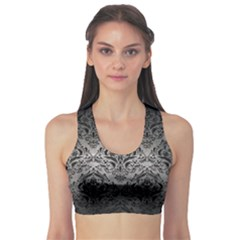 Damask1 Black Marble & Gray Metal 1 (r) Sports Bra