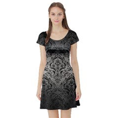 Damask1 Black Marble & Gray Metal 1 (r) Short Sleeve Skater Dress