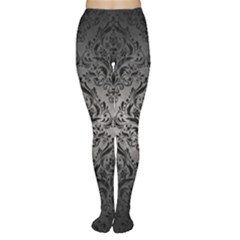 Damask1 Black Marble & Gray Metal 1 (r) Women s Tights