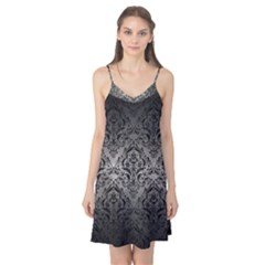 Damask1 Black Marble & Gray Metal 1 (r) Camis Nightgown