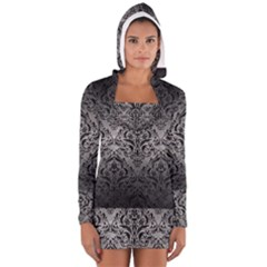 Damask1 Black Marble & Gray Metal 1 (r) Long Sleeve Hooded T Shirt