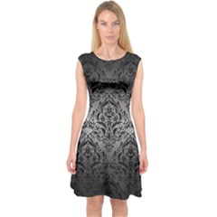 Damask1 Black Marble & Gray Metal 1 (r) Capsleeve Midi Dress