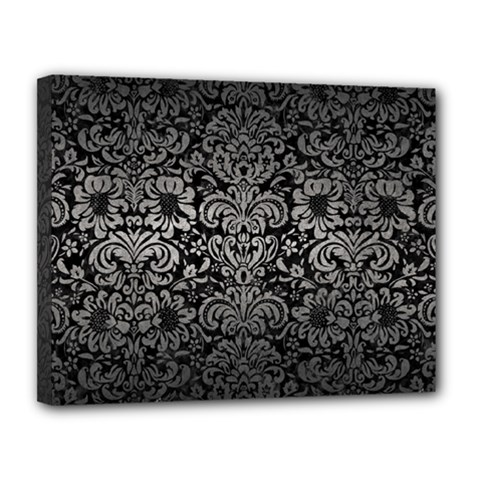 Damask2 Black Marble & Gray Metal 1 Canvas 14  X 11