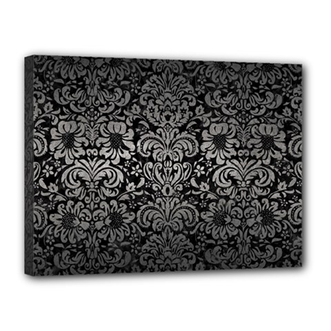 Damask2 Black Marble & Gray Metal 1 Canvas 16  X 12