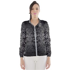 Damask2 Black Marble & Gray Metal 1 Wind Breaker (women)