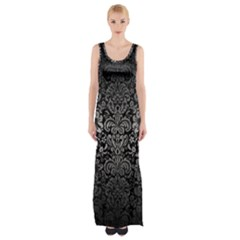 Damask2 Black Marble & Gray Metal 1 Maxi Thigh Split Dress