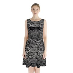 Damask2 Black Marble & Gray Metal 1 Sleeveless Waist Tie Chiffon Dress