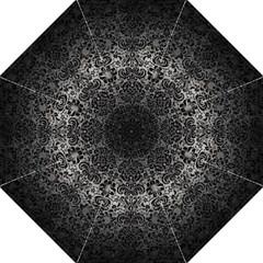 Damask2 Black Marble & Gray Metal 1 (r) Folding Umbrellas