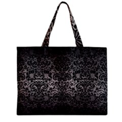 Damask2 Black Marble & Gray Metal 1 (r) Zipper Mini Tote Bag