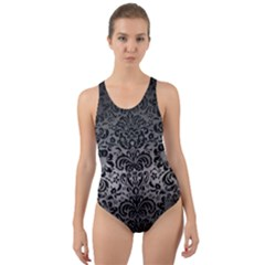 Damask2 Black Marble & Gray Metal 1 (r) Cut Out Back One Piece Swimsuit