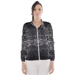 Damask2 Black Marble & Gray Metal 1 (r) Wind Breaker (women)