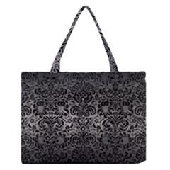Damask2 Black Marble & Gray Metal 1 (r) Zipper Medium Tote Bag