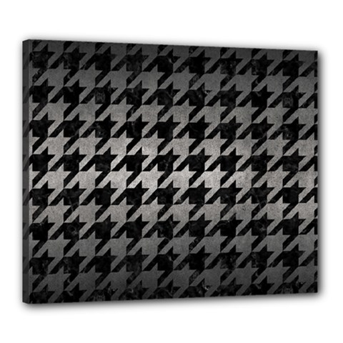 Houndstooth1 Black Marble & Gray Metal 1 Canvas 24  X 20
