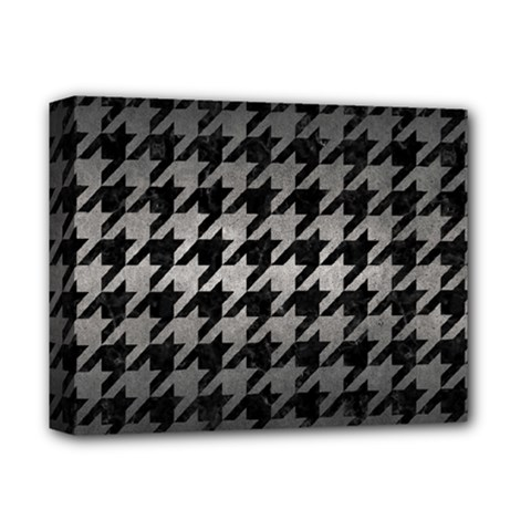 Houndstooth1 Black Marble & Gray Metal 1 Deluxe Canvas 14  X 11