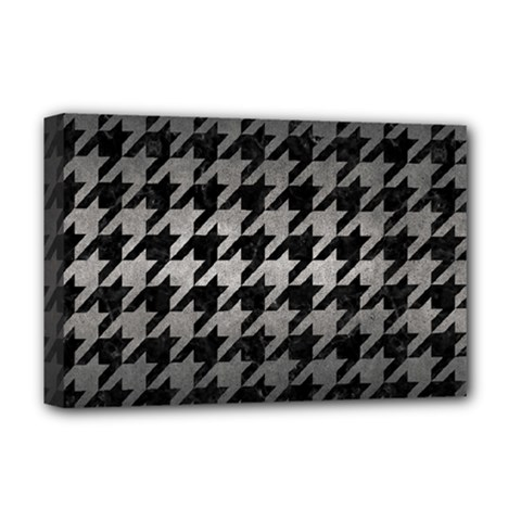 Houndstooth1 Black Marble & Gray Metal 1 Deluxe Canvas 18  X 12