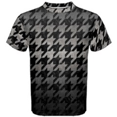Houndstooth1 Black Marble & Gray Metal 1 Men s Cotton Tee