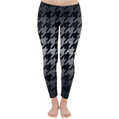 Houndstooth1 Black Marble & Gray Metal 1 Classic Winter Leggings