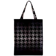 Houndstooth1 Black Marble & Gray Metal 1 Zipper Classic Tote Bag