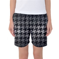 Houndstooth1 Black Marble & Gray Metal 1 Women s Basketball Shorts