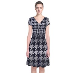 Houndstooth1 Black Marble & Gray Metal 1 Short Sleeve Front Wrap Dress