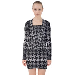 Houndstooth1 Black Marble & Gray Metal 1 V Neck Bodycon Long Sleeve Dress