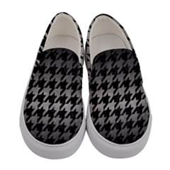 Houndstooth1 Black Marble & Gray Metal 1 Women s Canvas Slip Ons